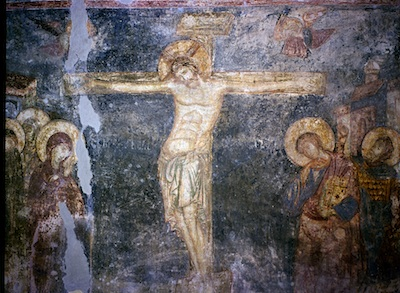 Crucifixion from the Maletic Gallery, Serbian fresco on Staff and Scrip, Dr John Dunn